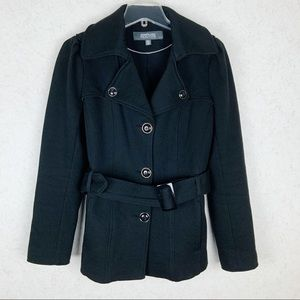 Kenneth Cole Reaction black pea coat with belt